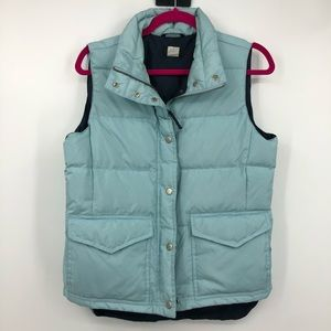 J. Crew Quilted Puffer Down Vest Light Blue Small